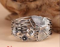 Фиолетовый Серебряный Цикада S925 браслет из серебра ручной работы Серебряная бабочка и широкое отверстие цветок браслет