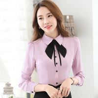 2017 Plus Velvet with Bow Blouse Women's Long Sleeve Shirt New Winter Thick Turn-down Collar Shirt White Blue Purple color