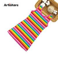 Artishare-vestido de verano para niña, ropa infantil de algodón con 100% de arcoíris, 6, 8, 10 y 12 años