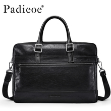 Padieoe Men's Genuine Leather Vintage Briefcase Casual Laptop Business Handbags Crazy Horse Men Bags Cow Leather Male Tote Bags