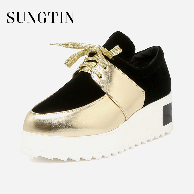 Sungtin 2018 New Design Women Creepers Platform Shoes Ladies Flats Round Toe Sneakers Spring Autumn Lace Up Casual Shoes asumer white spring autumn women shoes round toe ladies genuine leather flats shoes casual sneakers single shoes