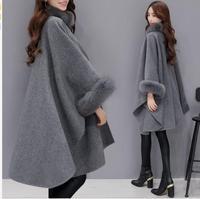 2018 fashion coat winter new fur collar long wool woolen coat temperament cloak shawl coat 201865
