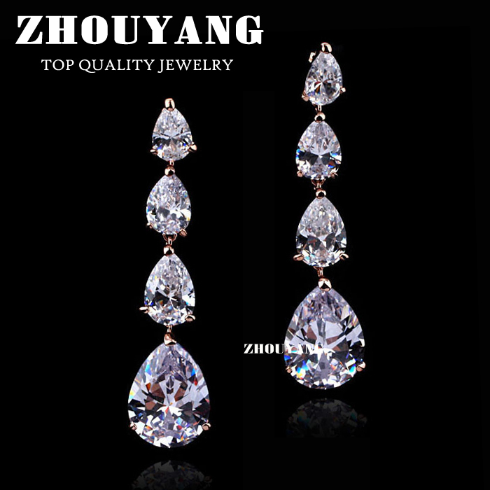 ZYE687 Luxurious Water Drop Zircon Stud Earring Rose Gold Color Jewelry Made with Genuine Austrian Crystal