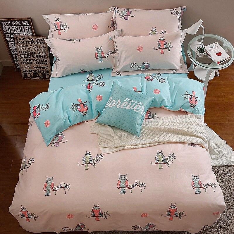 100 Cotton Simple Bedding Set Owl Bed Duvet Cover Linens 4pcsset