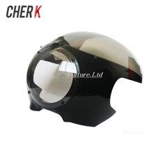 """Cherk 5 3/"""" Кафе Racer фара обтекатель ветрового стекла для Harley Sportster 883 1200 XL Dyna 39 мм вилки новые аксессуары для мотоциклов"""