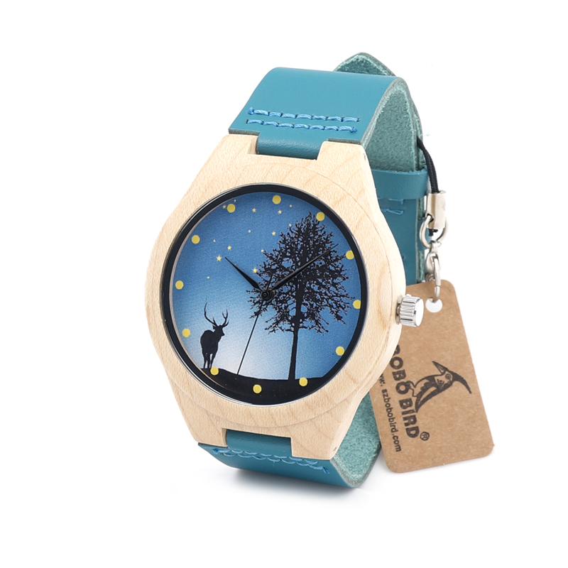 BOBO BIRD F19 Mens Maple Wooden Watch Deer Dial Japan Movement Quartz Wristwatch with Blue Leather