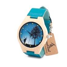 BOBO OISEAU F19 Mens Montre Maple Bois Cerf Cadran Japon mouvement Quartz Montre-Bracelet avec Bleu En Cuir Bnad dans une Boîte Cadeau horloge