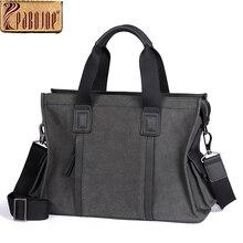 Pabojoe Mens Genuine Leather Business Handbag Briefcases 14inch Computer Holder Big Capacity Mullti-Function Shoulder Bag