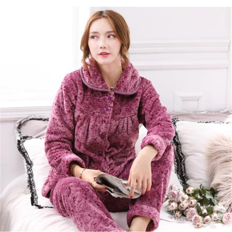 Autumn Winter Warm Pajamas Set Women Plus Size Pyjamas Women's Lounge Sleepwear Sets High End Flannel Pijamas Suit Homewear