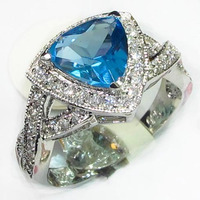 Casual Beautiful Blue Cubic Zirconia Jewelry 925 Silver Plated Trendy Ring R563 Sz 6 7 8