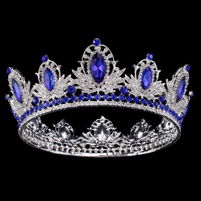 2018 New Luxury Baroque Gold Silver Blue Crystal Bridal Crowns Tiaras Queen Wedding Hairband Hair Accessories Prom Party Crown 2017 new pink gold silver king crowns handmade tiaras brides headband crystal bridal diadem queen crown wedding hair accessories