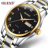 OLEVS Dress Quartz Leather Watch Men Business Top Brand Gold Dial Steel Belt Men Wristwatch Male