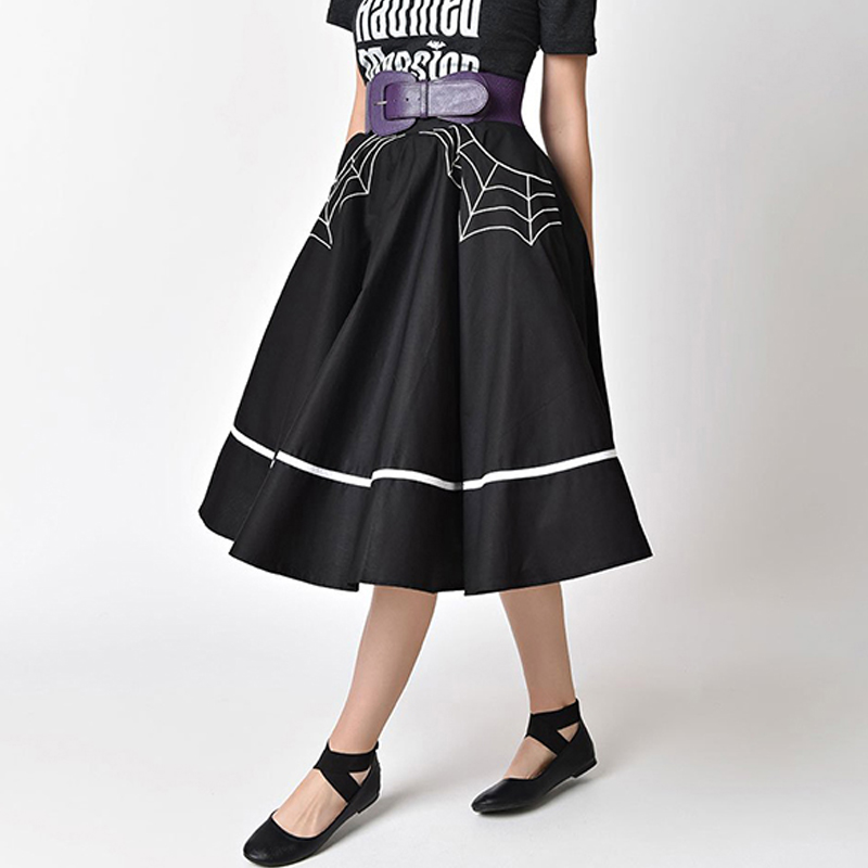 Ladies High Waist Skirts Halloween Elegant Swing 50s Vintage Retro Knee Length Skater Black Skirt Vintage Retro Dropship