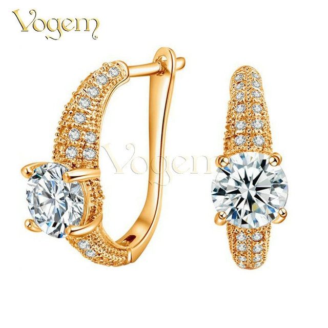 VOGEM Gold Plated Gorgeous Hoop Earrings For Women Paved AAA+ Zirconia Crystal Sweet Valentine's Day Gifts For Girlfriend