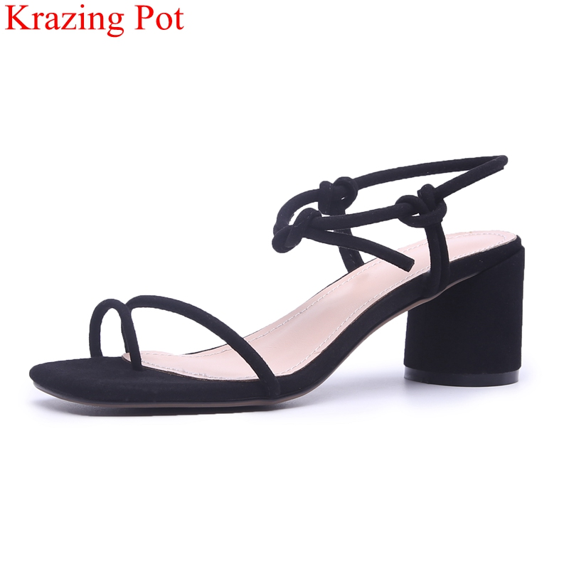 2018 superstar peep toe square heel women sandals office lady concise elegant lace up sexy casual wholesale wedding shoes L38 miquinha mixed color plaid pattern butterfly knot ankle strap square heel women sandals elegant concise women casual sexy shoes