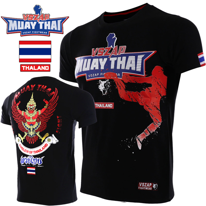 VSZAP Muay Thai Pattern Sport Training Breathable Clothing MMA Shirt Boxing