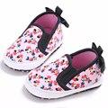 Lindo bebé de Color Rosa Bebé Niño Zapatos Recién Nacidos Niñas Mickey Lona Cochecito Bebe Suaves Únicos Zapatos Del Pesebre Casual Prewalker Arco Zapatillas