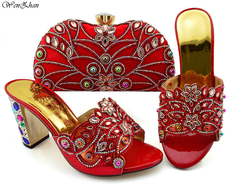 African Wedding hot selling Shoes and Bag Set Red Color Italian Shoes With Matching Bags Nigerian Women for party 9cm B94-5African Wedding hot selling Shoes and Bag Set Red Color Italian Shoes With Matching Bags Nigerian Women for party 9cm B94-5