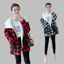 2016 Winter New Korean Fashion Casual Women Coat Large size Plus velvet Thick Warm Plaid Cotton Hooded Down jacket L-XXXL AB30
