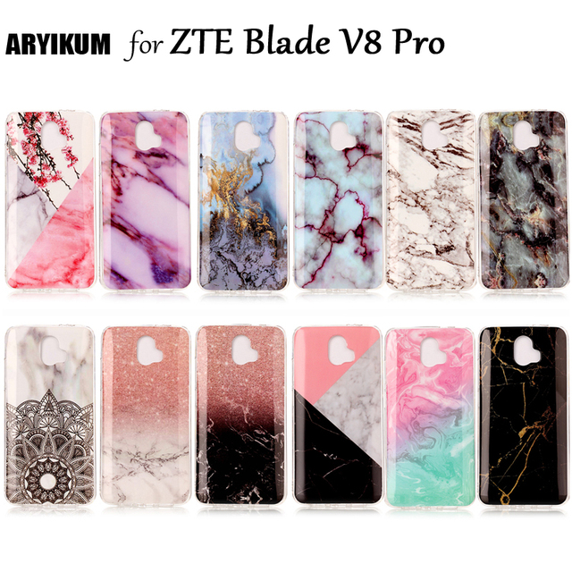 online retailer 250ce cb33f US $1.83 8% OFF|Luxury Marble Stone Case For ZTE Blade V8 Pro Case ZTE Z978  Soft TPU Rubber Cover For ZTE Blade V8 Pro 5.5 inch Phone Skin Shell-in ...