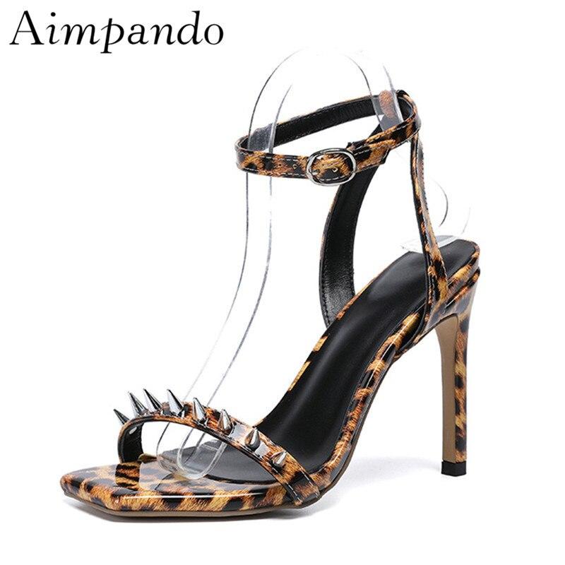 Diseño Transparente Nuevo Punta Mujer Leopard Verano Forma Pvc Sexy Fuego Tacones T Sandalias En correa De OwzrwZqd