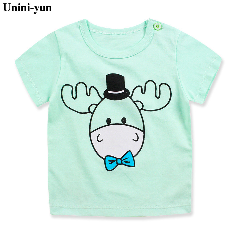 Unini-yun Cartoon cow Boys Girls T-shirt New 2017 Summer Baby Clothes Short-sleeve Toddler T Shirts Kids Clothing ropa bebe6M-7T