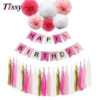 1 Satz Rose Rosa Farbe Papier Handwerk Glücklich Geburtstag Banner Girlanden Pom Poms Dekoration Für Hochzeit Kinder Birthday Party Supplies