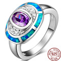 Colorful Opals Gem 100% 925 Sterling Silver Metal Blue  Rings Fine Jewelry Crystal Oval Designer Women/Man Bohemia Party