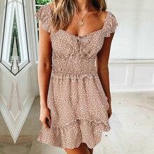 Kimuise sexy square collar a line mini women summer dress elastic waist floral print boho sundress 2019 vestidos beach