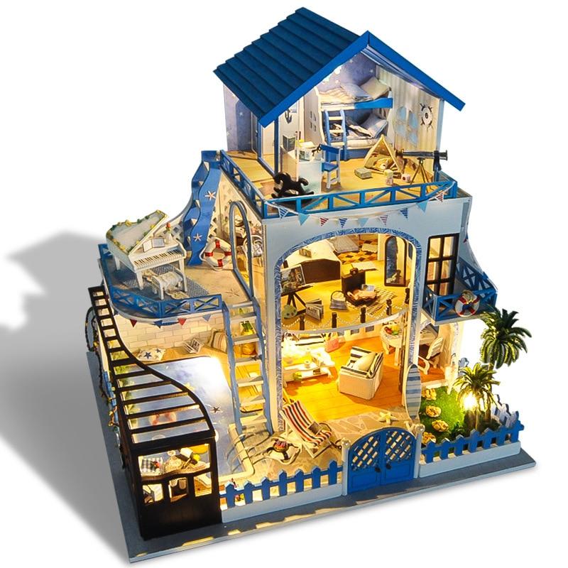 Miniature Aegean Villa Dollhouse Piano Pool Furniture Kits DIY Wooden Dolls House LED Lights Music Box