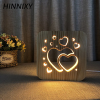 Hinnixy Love Heart Hollow Night Lamp 3D Square Wooden Soft Light Bedside Decor Table Lights Kids Girlfriend Valentine's Day Gift