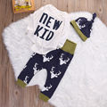 3pcs Infant Toddler Newborn Baby Boys Girls Clothes Set Deer Bodysuits + Pant + Hat Cotton Dark Blue Clothing Baby Boy Outfits
