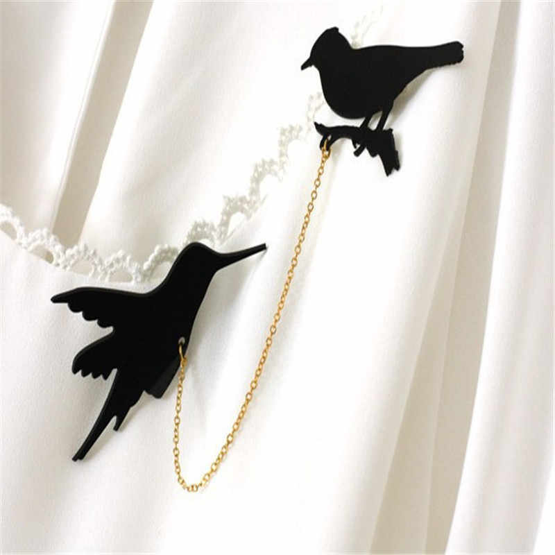 Vintage Double Black Birds Collar Brooches For Women Retro Clothes Scarf Jewelry Accessories Lapel Pins