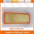 O envio gratuito de Alta qulality filtro de cabine Filtro De Ar não-tecido tecidos para 06F 133 843 A 06F133843A