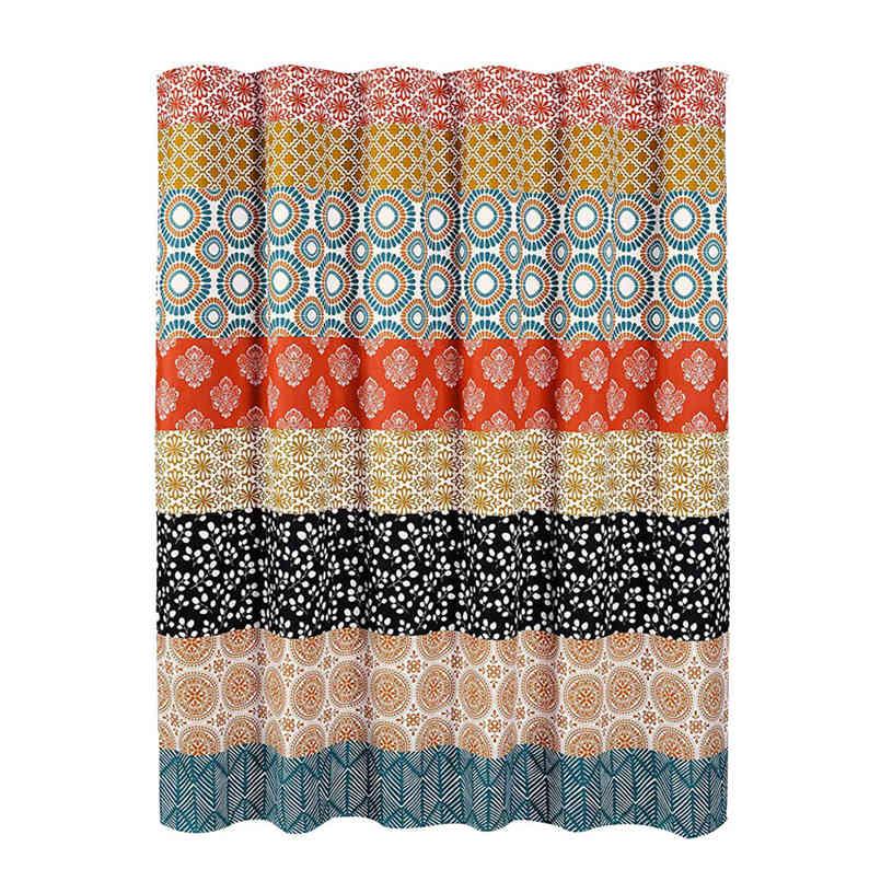Uphome Boho Stall Shower Curtain Fabric Black and Beige Geometric Tribal Shower Curtain Set with Hooks Chic Bohemian Bathroom Accessories Decor,Heavy Duty Waterproof 36x72