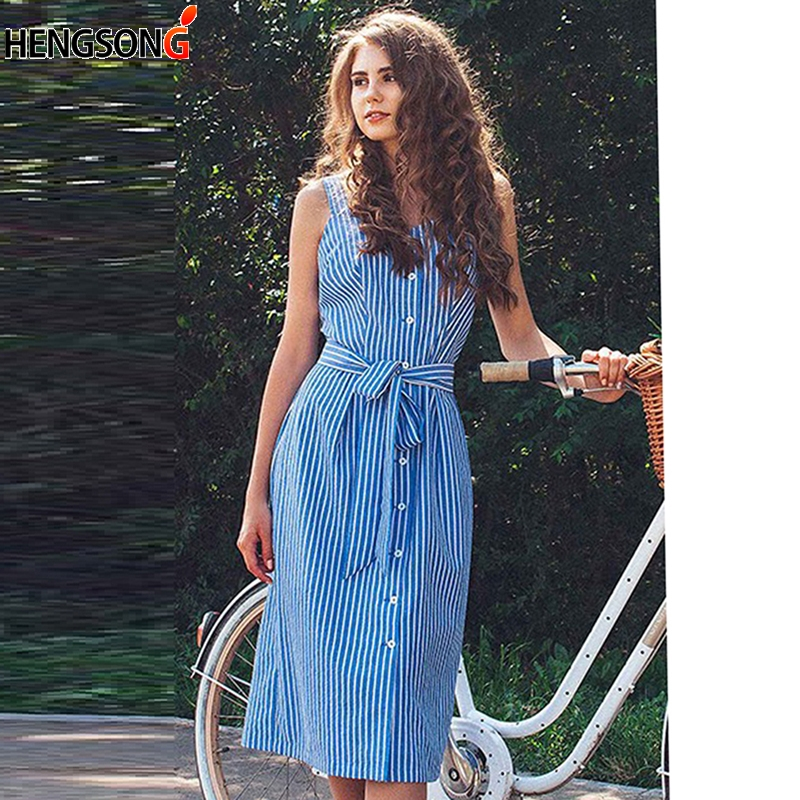 Classic Blue Striped Dress Single-Breasted Midi Elegant Shirt Dress Bow Bandage Sexy Summer Off Shoulder Women Party Dresses