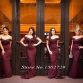 Burgundy Mermaid Bridesmaid Dresses Sexy Off the Shoulder Lace Beads Vestido madrinha Dark Wine Red Maid of Honor Dress Cheap