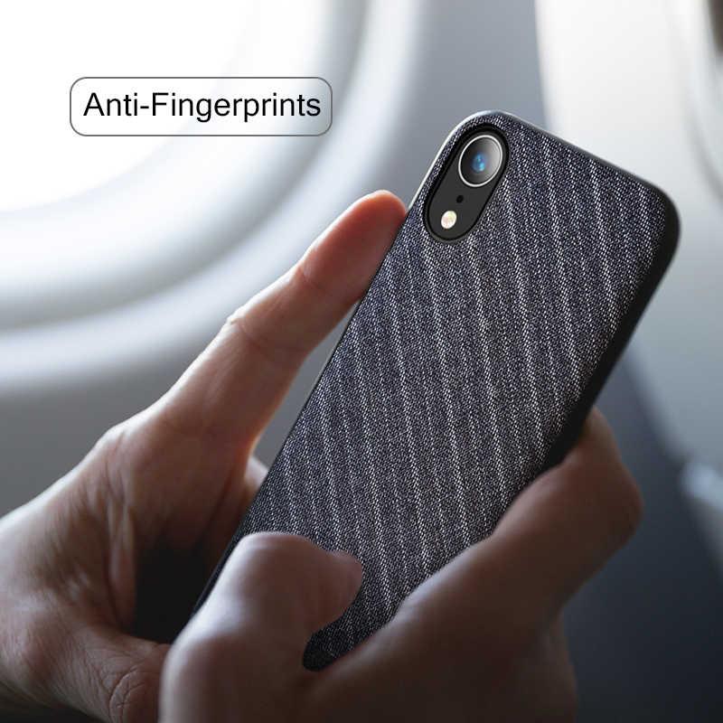 Xr caso para o iphone xr caso capa traseira terno de negócios pano estilo tecidos xr caso capa 6.1 polegadas para o iphone xr 6.1 caso cinza