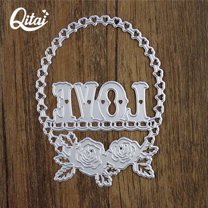 QITAI 1Piece Metal Cutting Dies Love Flowers Circular Shape Delicate Pretty Paper DIY Scrapbooking and crafts kids handmade D30