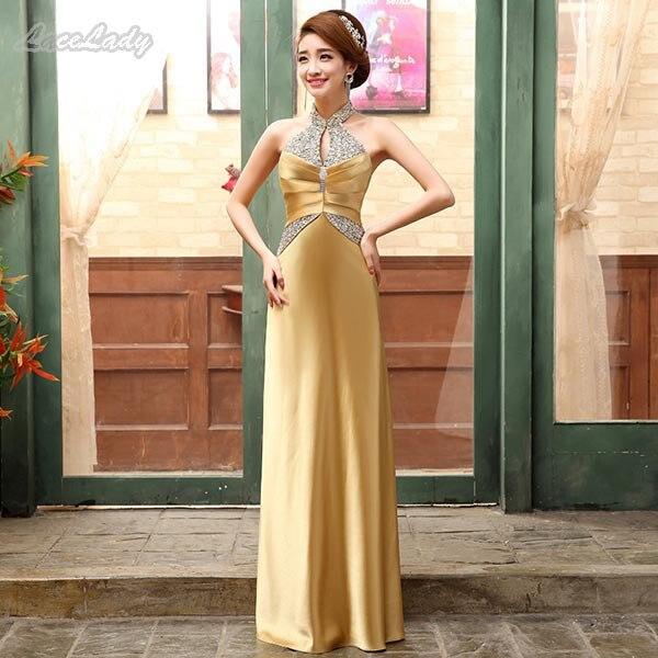 Новинка, модное, на заказ, элегантное, длина до пола, вечерние платья, прямое, с лямкой через шею, женское, длинное, торжественное платье, цена, LF27 - Цвет: Golden