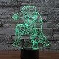 Мстители Железный Человек Дэдпул 3D Led настольные лампы вспышки игрушки 2016 Новый Супергерой Бэтмен 7 цвета визуального иллюзии ПРИВЕЛИ огни