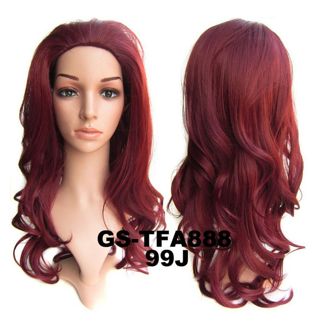 3/4 Half Wig 99J DARK RED Hair Fall Long Natural