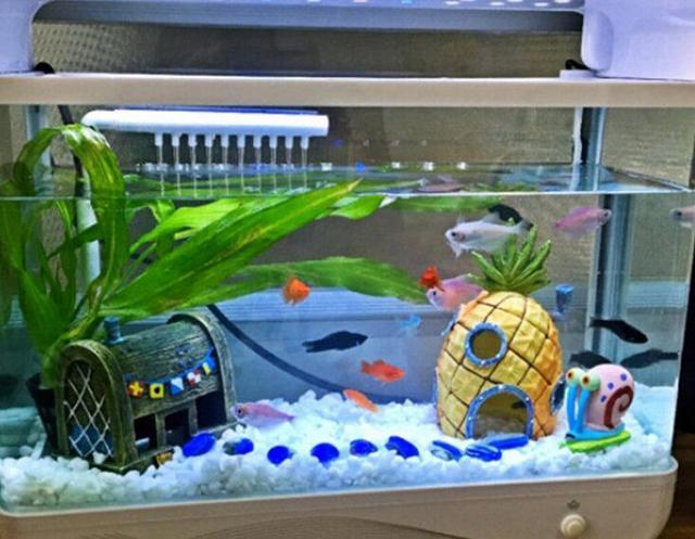 Hot Mini Resin Pinele Cartoon House Landscaping Fish Tank Aquarium Decoration Ornament Home Decor Escape
