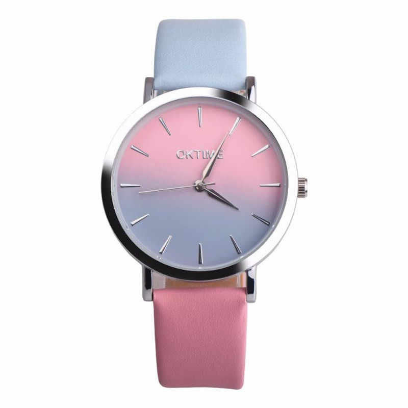 Retro Women's Watches Rainbow Printed Leather Band Quartz Wrist Watch  Bracelet Analog Quartz Wristwatch relogio feminin 35