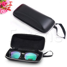 Portable Leather Zipper Eye Glasses Sunglasses Clam Shell Hard Case Protector