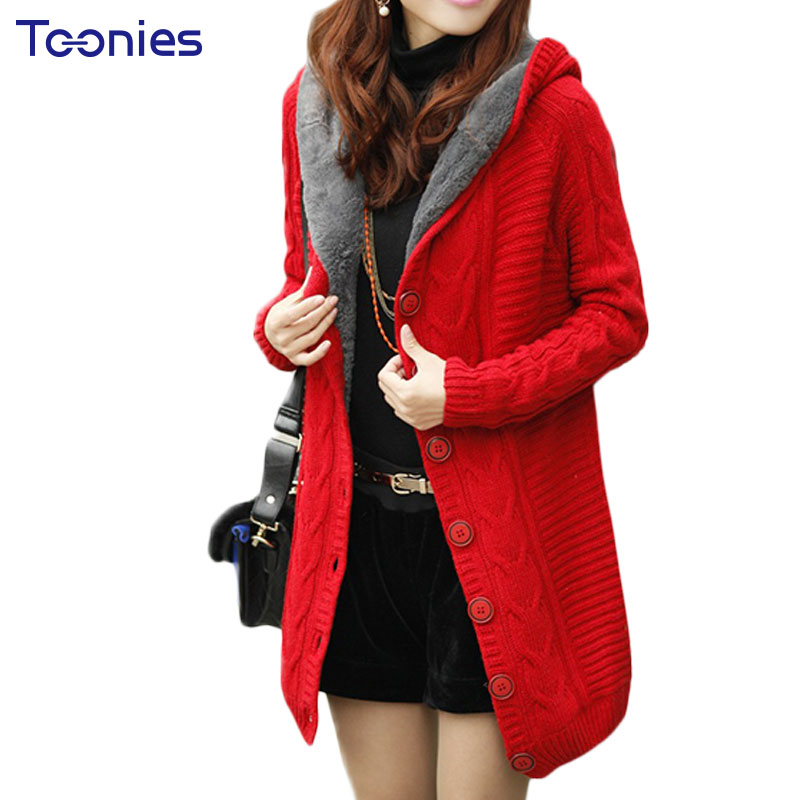 2017 New Winter Hooded Cardigan Cashmere Sweater Women Coat Thick Warm Sueter Mujer Long Sleeve Knitted Cardigans Female Poncho