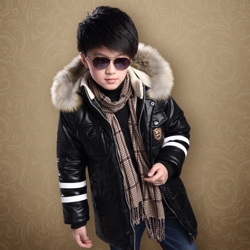3-12T Boys Winter Coat PU Leather Cashmere Lining Warm Kids Outerwear Coat Fur Collar Hooded Children Boy Winter Jacket boys winter jacket cotton padded fur collar hooded long kids outerwear coat thicken warm boy winter coat children clothing