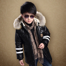 Three-12T Boys Winter Coat PU Leather Cashmere Lining Warm Kids Outerwear Coat Fur Collar Hooded Children Boy Winter Jacket