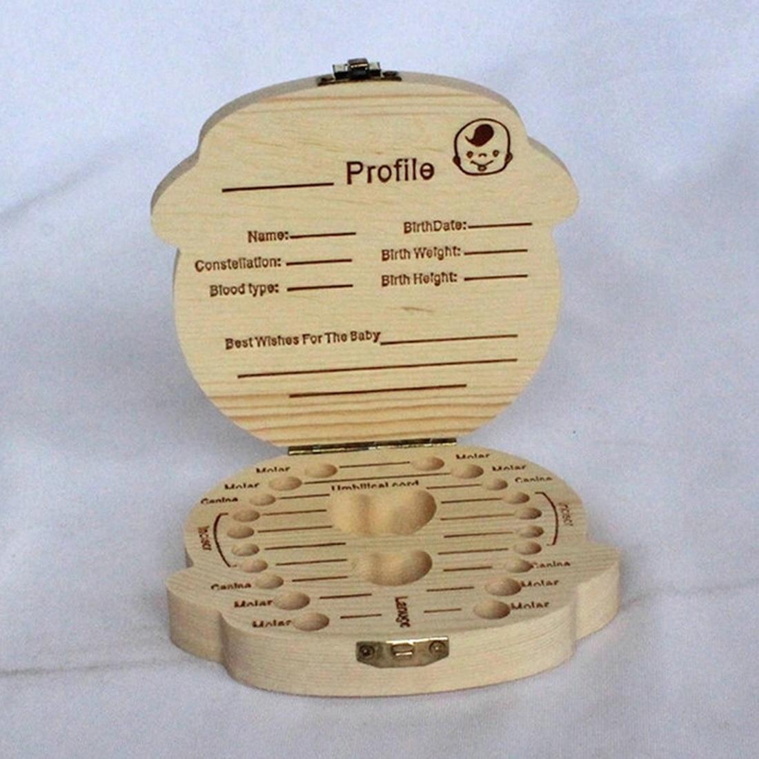 English Spanish Wooden Box Tooth Box Organizer Save Milk Teeth Box Storage Teeth Gift Umbilical Cord Lanugo Wood Storage Box