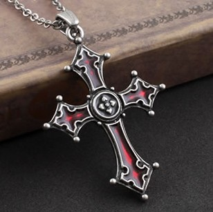 Top Quality Dark Red Glaze Gothic Vampire Vintage Cross Pendant Necklace Hiphop Rock Sweater Chain Free Shipping Fashion Jewelry
